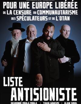Anti-zionistische campagne van de komiek Dieudonné. Let op de steun die hij krijgt van een jood.