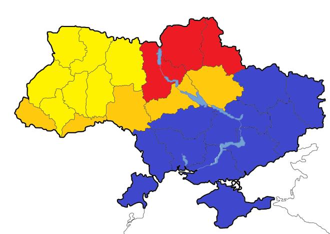 De huidige toestand in Oekraïne: Geel = in handen van de Euromaidan-beweging. Dit is het kerngebied van de Oekraïnese nationalisten van o.a. Svoboda. Deze gebieden erkennen het centrale gezag niet meer. Rood = zware rellen, met overwicht voor Euromaidan. Oranje = rellen, met overwicht voor de centrale overheid. Blauw = in handen van de Partij van de Regio's. Deze gebieden hebben aangegeven het centrale gezag onder Euromaidan niet meer te erkennen.
