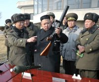 N. Korean leader inspects artillery firing drill