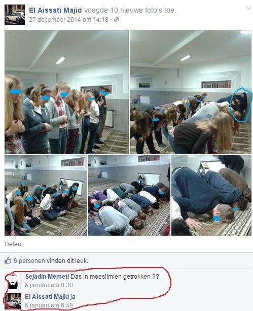 "Tweet Wim Van Osselaer, VB gemeenteraadslid Antwerpen: ""Vlaamse kinderen met hoofd op grond in moskee Mouslimine die niet erkend werd door veto staatsveiligheid."""