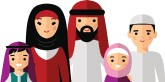 Vector colorful illustration of arab  family in national clothes