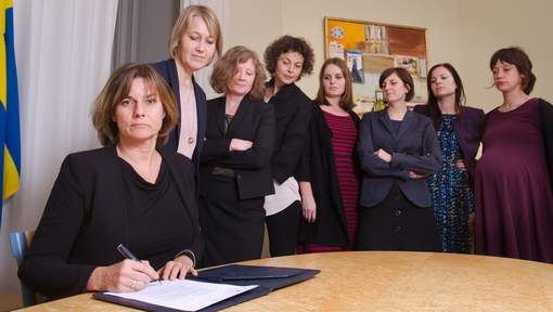 "Swedish Environment Minister and Deputy Prime Minister Isabella Lovin (L) signs a referral of Swedish climate law, binding all future governments to net zero emissions by 2045 at the ministry in Stockholm on February 1, 2017. The bill signing was witnessed by seven female colleagues, imitating a viral photograph of US President Donald Trump signing an executive order on January 23 at the White House under the watchful eye of his all-male colleagues / AFP PHOTO / Johan SCHIFF, Regeringen / RESTRICTED TO EDITORIAL USE - MANDATORY CREDIT ""AFP PHOTO /Johan SCHIFF, Regeringen"" - NO MARKETING NO ADVERTISING CAMPAIGNS - DISTRIBUTED AS A SERVICE TO CLIENTS"