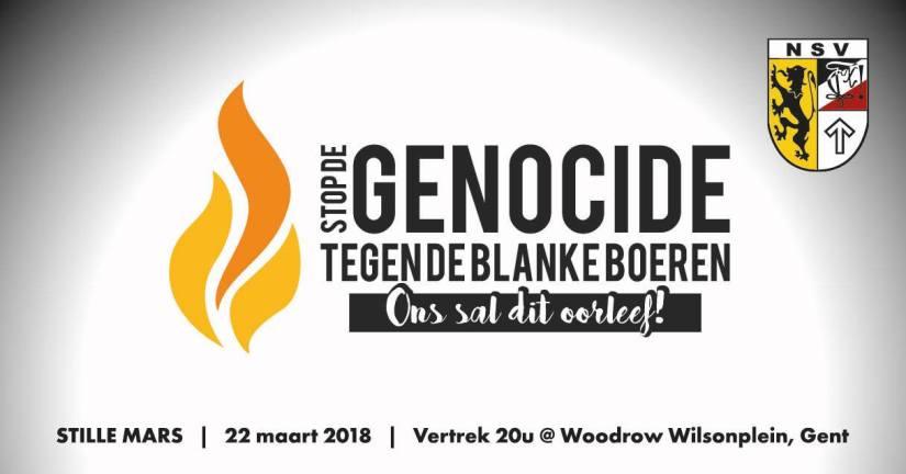 NSV demonstreert op 22.3 tegen anti-blanke genocide in Zuid-Afrika, extreemlinks isdroevig